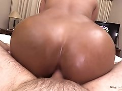 After a deep rimming Ning turns around for a doggystyle view. Doesn`t her oiled up ass look like sunshine? There`s only one logical next step, and it`
