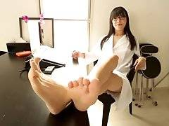 Spreading her gorgeous legs to reveal her see-through panties which barely contain the sweet surprise within before whipping it out and scheduling you
