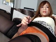 Extremely slutty with a sex drive to the moon, Miki invites us upskirt for this classic show of sin before releasing holy hell and splooging a red hot